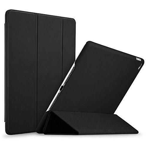 iPad Air 2 Hülle, ESR® [Rubberized / Gummiert] PU Ledertasche Auto Aufwachen / Schlaf Funktion Schutzhülle mit Gummi-Spray für iPad Air 2 / iPad 6 (Schwarz)