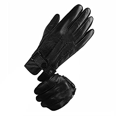 LETHMIK Men's Luxury Deerskin Gloves Touchscreen Winter Warm Driving Leather Gloves