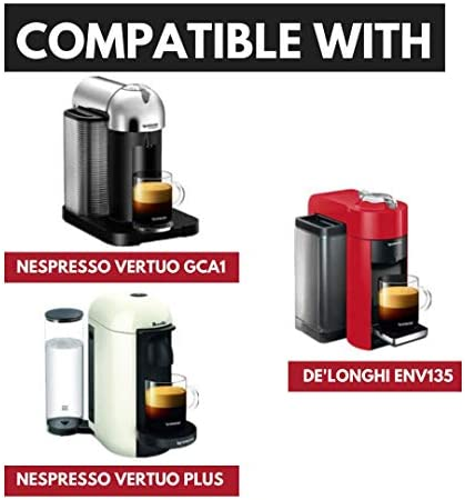 HAPPIELS PREMIUM Reusable Coffee Pod 7.8oz for Nespresso Vertuo Coffee Machine with Coffee Tamper | Stainless Steel Refillable Coffee Capsule