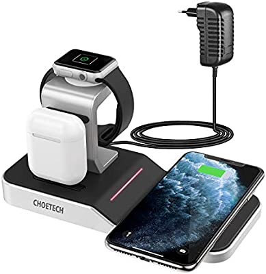 CHOETECH Cargador Inalámbrico, 4 En 1 Apple Watch 5/4/3/2/1,Airpods 1/2/Pro,iPad Base Carga,7.5/10W Qi Cargador para iPhone 11/11Pro Max/X/8/XR/8 ...