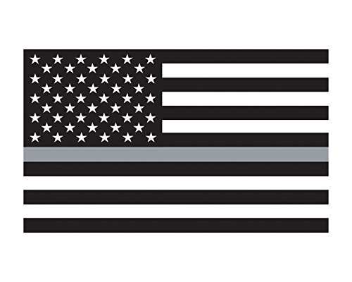 Morale Tags Thin Grey Line American Flag 3x5 Vinyl Decal Sticker for Cars Trucks Laptops etc. (Black and White) (Black and White) - Gray Car Flag