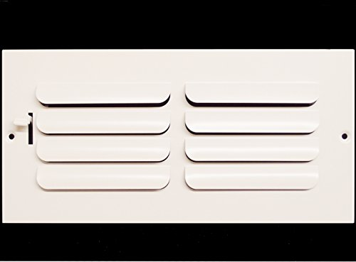 10w x 6h 1-Way Fixed Curved Blade AIR Supply Diffuser - Vent Duct Cover - Grille Register - Sidewall or Ceiling - High Airflow - White