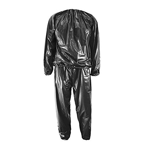 bargain house Sauna Suit - Heavy Duty Fitness Weight Loss Sweat Sauna Suit Exercise Gym Anti-Rip Black L