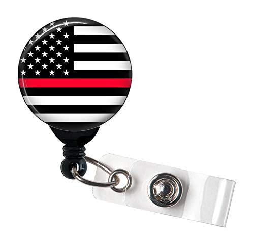 Thin Red Line Flag - Veteran Military - Retractable Badge Reel with Swivel Clip and Extra-Long 34 inch Cord - Badge Holder - Firefighter/Fire -