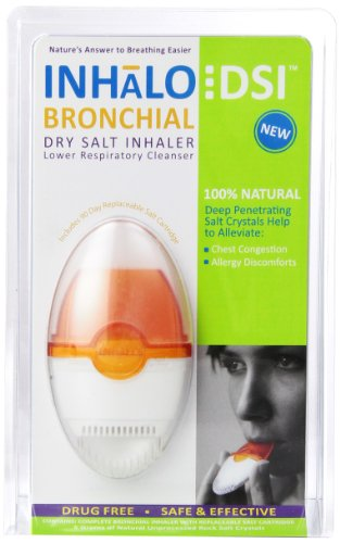 SinuCleanse INHaLo Bronchial Dry Salt Inhaler - Contains 100% All-Natural Deep Penetrating Salt Crystals to Help You Breathe Easier - Includes 1 Ready-To-Use Lower Respiratory Inhaler
