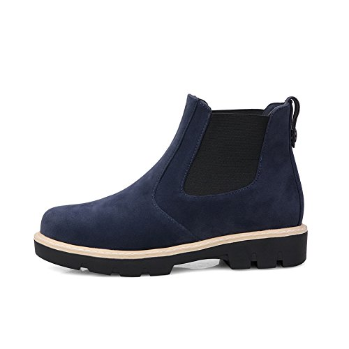 A&N Ladies Preppy Style Anti-Skidding Bottom Casual Frosted Boots Blue AeGf77