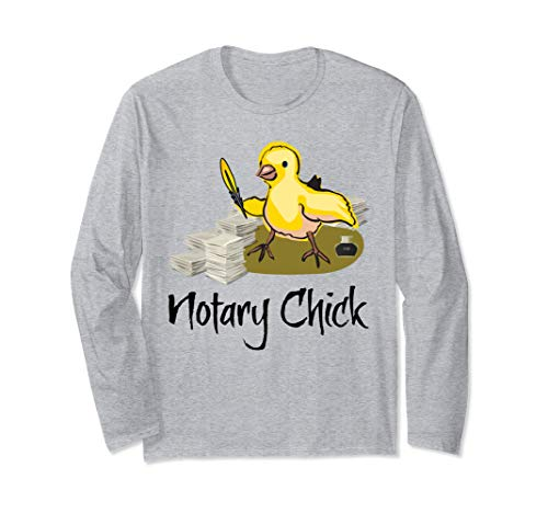 Notary Chick Yellow Feather Quill Ink Pot Blank Paper Funny Long Sleeve T-Shirt