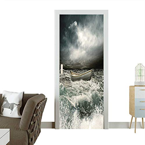 Homesonne 3D Photo Door Murals Row Boat in Thunderstorm Easy to Clean and Apply W30 x H80 ()