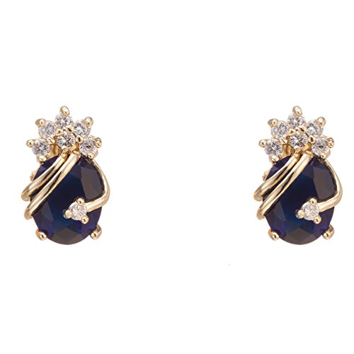 Elegant Womens Earring (YAZILIND Elegant 18K Gold Plated Cubic Zirconia Multicolor Stud Earrings for Women)