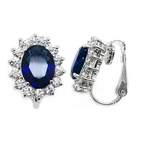 Blue CZ Clip On Earrings Crown Oval Wedding Women Fashion