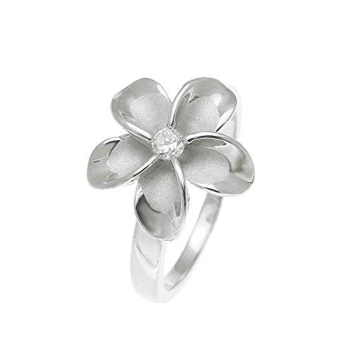 925 sterling silver rhodium plated 15mm Hawaiian plumeria single flower cz ring size 6