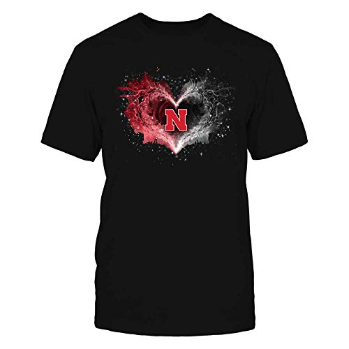 FanPrint Official Sports Apparel Men's Basic Cotton T-Shirt Nebraska Cornhuskers Beautiful Galaxy Heart, Size 3XL, Black ()