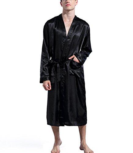 Mobarta Men's Satin Kimono Robe Long Bathrobe Lightweight Loungewear Sleepwear Silk Nightwear Spa Bathrobes (Black, XX-Large) (Satin Men Robe)