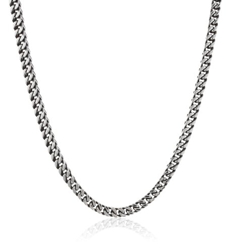 Mens-Antique-Finish-Stainless-Steel-Wheat-Chain-Necklace
