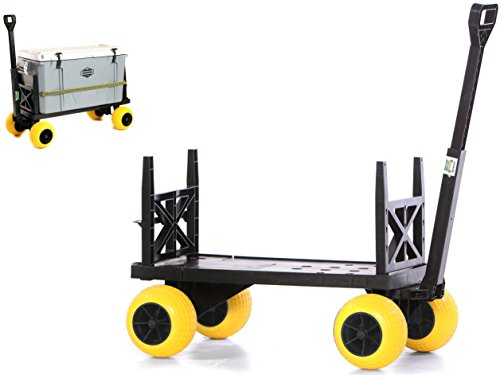 Cooler Cart with on Wheels Ice Chest Box Carrier Wagon Igloo Yeti Coleman Pelican Grizzly Hauler (Yellow Wheels)