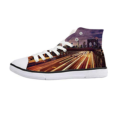 City Stylish High Top Canvas Shoes,Brooklyn Bridge at Night Car Traffic in New York United States Transport for Men & Boys,US 7
