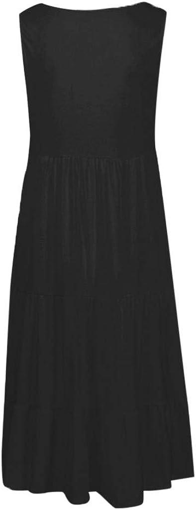 Storerine Abito Spiaggia Senza Maniche Tinta Unita Donna Vestitino Dress Vestitini Abiti Gonna Playsuit Vestiti Jumpsuit Gonne Vestito Abito Vestito Stampa Senza Maniche Spiaggia Sciolto Clubwear