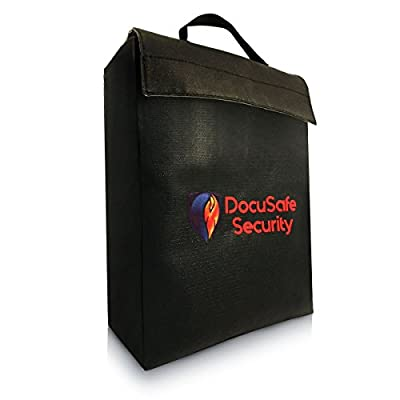 Fireproof Money & Document Bag By DocuSafe Security - Fire & Water Resistant Cash & Envelope Holder - Silicone Coated File Pouch - Zipper & Velcro Closure For Maximum Protection - 15x11.5x5 Large Size