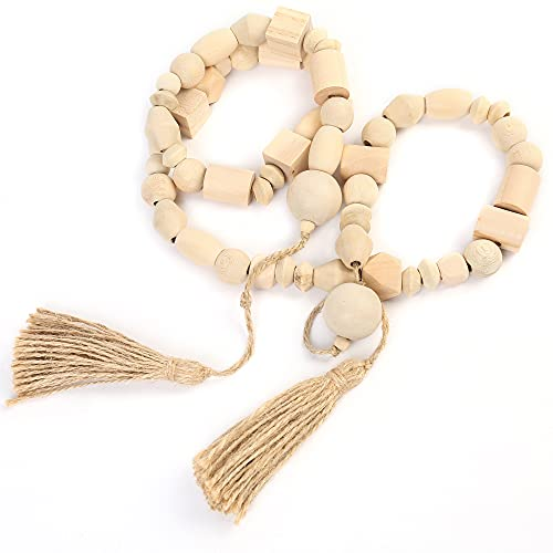LotFancy Natural Wooden Bead Garland with Tassel, 60in / 5ft, Modern Farmhouse Boho Bead String for Décor, Various Shapes Design, for Home Wall Shelf Coffee Table