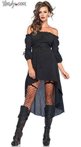 Leg Avenue Women's High Low Peasant Dress Costume, Black, Medium/Large -
