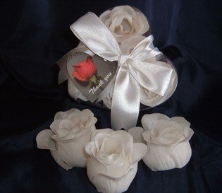 Scented Rose Shaped Soaps in Heart Box - White with Satin Ribbon & Thank You Card - Wedding Favors