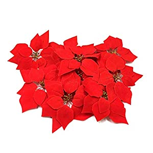 HMILYDYK 20PCS Christmas Decor Artificial Flowers Red Poinsettia Xmas Tree Ornaments 8 INCH Red Flowers 39