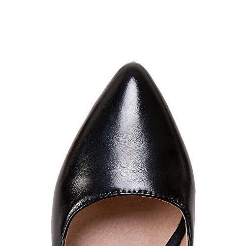 Closed Women's Heels Black Solid Pull Shoes PU On Toe Odomolor AmagooTer Pumps High pqFnF85