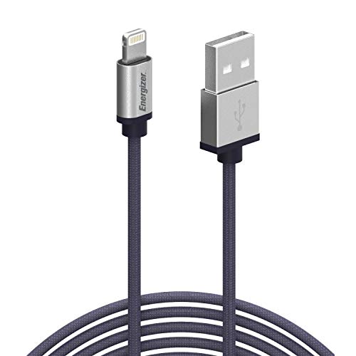 Price comparison product image Premier Energizer iPhone Charger Lightning Cable 6ft MFi Fast Charging USB Syncing Cables Nylon Braided Cord Metal Tip,  Navy 6 Feet
