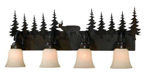 New 4 Light Bathroom Vanity Lighting Fixture Bronze: Vaxcel USA VL55404BBZ Bryce 4 Light Rustic Bathroom Vanity