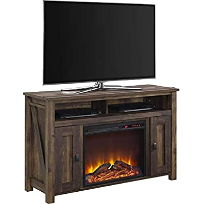Home Joy Elec Fireplace TV Stand 50in Electric Entertainment Center Media Console Heater Rustic Farmhouse Storage
