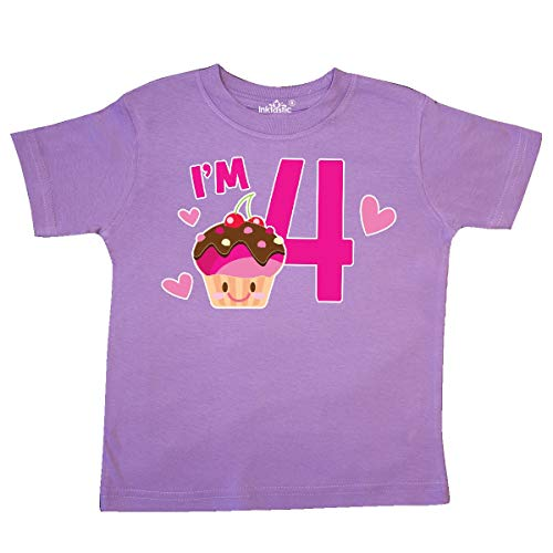 inktastic - I'm 4 with Cute Cupcake and Hearts Toddler T-Shirt 2T Lavender 36421