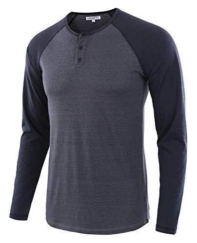 HARBETH Men's Casual Long Sleeve Henley Shirt Raglan Fit Baseball T-Shirts Tee Cadet Blue/Navy L