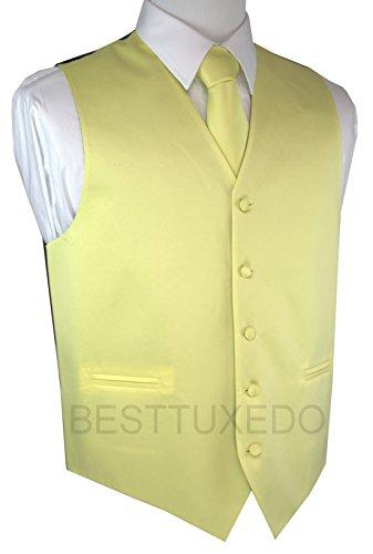 Brand Q Men's Tuxedo Vest, Tie & Pocket Square Set-Canary-M