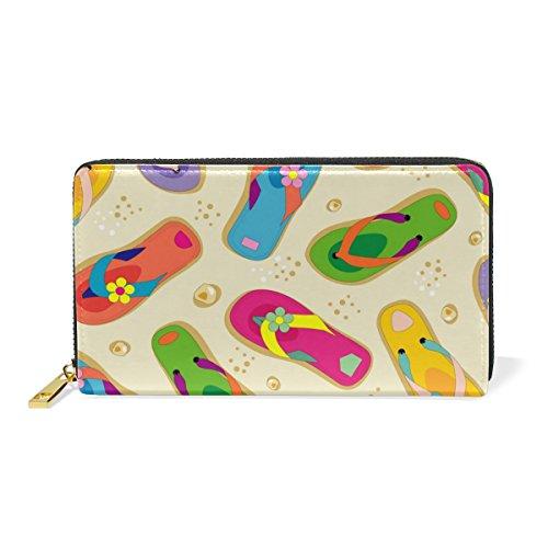 GIOVANIOR Colorful Flip Flops Print Womens Clutch Purses Organizer And Handbags Zip Around (Flip Flop Purses)