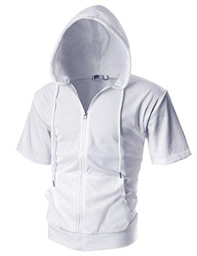 OHOO Mens Slim Fit Short Sleeve Lightweight Zip-up Hoodie with Kanga Pocket/DCF007-WHITE-S