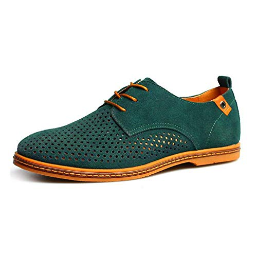 Men Oxfords Shoes Man 2019 Summer Breathable Suede Leather Shoes British Man Cut Outs Dress Shoes,Green,12