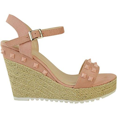 Fashion Thirsty heelberry Mujer Alpargatas Plataforma Sandalias con tachuelas Tacón Alto Verano Zapatos De Tiras Rosa Pastel Ante Artificial