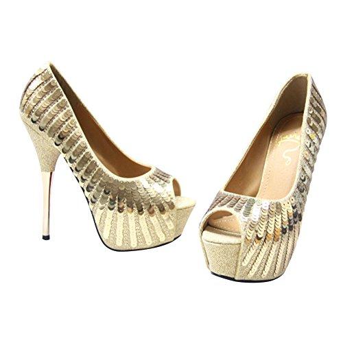 Pump Toe Shoes Golden Sequins Party Studded Peep Fashion Super High Womens Heel EHq8vpPnq