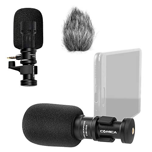 (Comica CVM-VS08 Microphone for Smartphone,Cardioid Condenser Directional Shotgun Video iPhone Microphone for Phone,iPad,LG/Huawei Android Smartphone with Wind Muff)