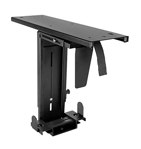 Mount-It! Adjustable Under Desk Computer Mount with Anti-Theft Screw, CPU Holder with Sliding Track and 360 Deg Swivel for Desktop Computer Towers, 22 Lb Load Capacity
