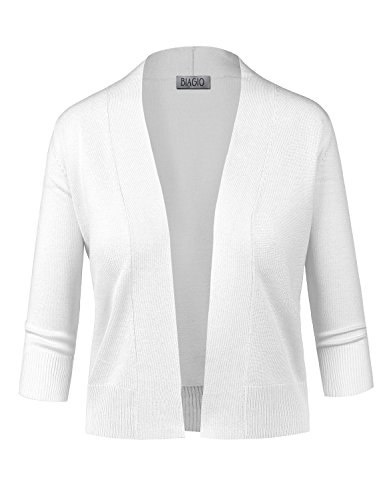 5291cf4c40ba BIADANI Women Classic 3 4 Sleeve Crop Cardigan White Large ...