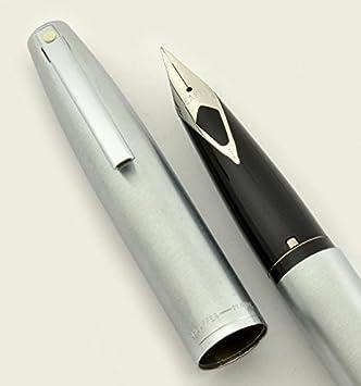 Vintage Sheaffer 444-Fine Brushed Chrome Fine Fountain Pen NIB With Refills