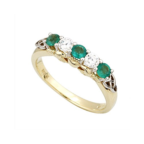 Diamond & Emerald Claddagh Ring 14K Gold Size 5.5