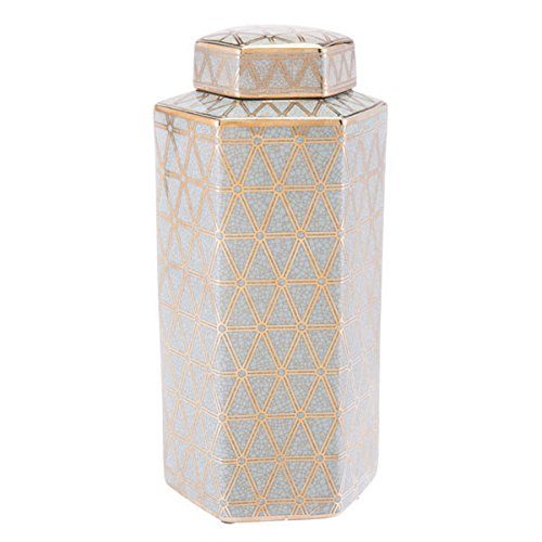 HomeRoots Décor 295057-OT Gold and Blue Covered Jar, Multicolor