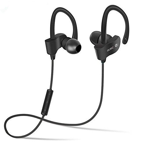 Bluetooth Earphones 4.1 Earhook Sport Headphones for Running Music Cell phones Keywords Waterproof Sweatproof Dropproof Wireless Earbuds-Black