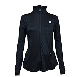 Rahnr Stretchy Women's Running Sports Jackets Full Zip Activewear Coat with Thumb Holes,Black,Medium
