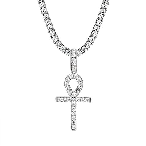 Master Of Bling Ankh Cross Pendant Silver Tone Solitaire Simulated Diamond Tennis 1 Row Necklace (Simulated Diamond Tennis Necklace)