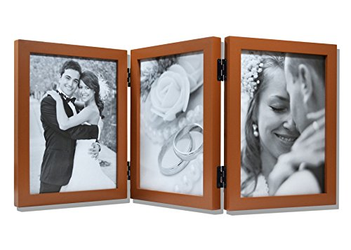 Golden State Art Wood Table Top Folding Vertical Photo Frame for Triple 5x7 Pictures with Real Glass, Coffee Walnut -