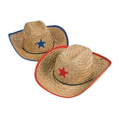 Fun Express Childs Straw Cowboy Hat with Plastic Star - 12 (Cheap Cowboy Party Hats)