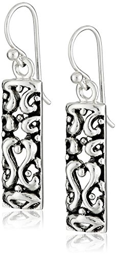 Barse Sterling Silver Ornate Scroll Drop Earrings